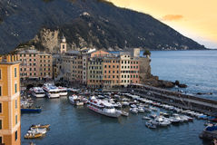 Camogli harbor at sunset Stock Photos