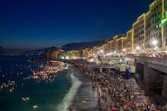 CAMOGLI, ITALIË - AUGUSTUS 6 2017 - de traditionele kaarsen van Stella Maris op de overzeese viering Royalty-vrije Stock Fotografie