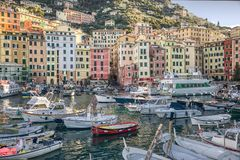 Camogli, Italian Riviera, Italy harbor view stock images