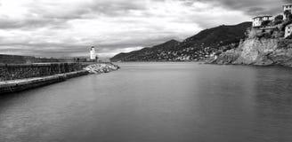 Camogli, l'entrata di porto, orario invernale Foto in bianco e nero di Pechino, Cina Fotografie Stock