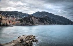 Camogli, la bahía Imagen del color Foto de archivo libre de regalías