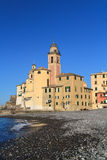 Camogli, la basílica Foto de archivo libre de regalías