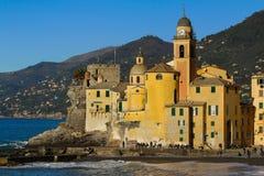 Camogli landscape. Basilica di Santa Maria Assunta of Camogli by the sea Royalty Free Stock Image
