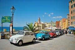 Camogli, Ligurië, Italië - September 20, 2015: Festival Fiat 500 Royalty-vrije Stock Afbeelding