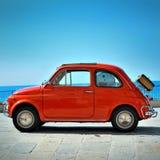 Camogli Liguria, Italien - September 20, 2015: Festival Fiat 500 Fotografering för Bildbyråer