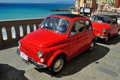 Camogli Liguria, Italien - September 20, 2015 festival Fiat 500 R Arkivbilder