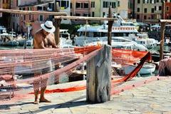 Camogli, Liguria Włochy, Wrzesień, - 20, 2015: rybaka obwieszenie Obraz Royalty Free