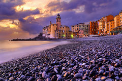 Camogli no por do sol, Itália Foto de Stock