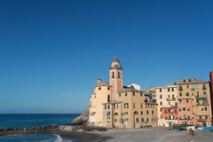 Camogli, seaside and church Stock Photo