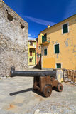 Camogli - square with cannon Royalty Free Stock Images