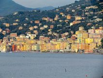Camogli town houses and cliffs Stock Photos