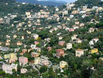 Camogli town houses and cliffs Royalty Free Stock Photography