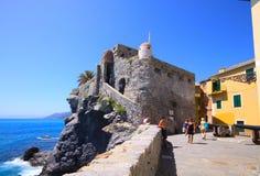 Castello medievale di Camogli, golfo di Tigullio, Genova, Italia Fotografia Stock