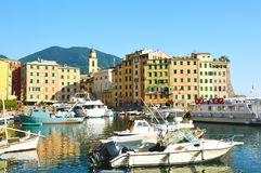 Camogli typical village with colorful houses and small harbor in Liguria, Italy Royalty Free Stock Images