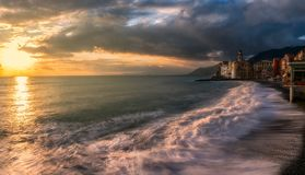 Golden light in Camogli, italy. Camogli is a very famous tourist resort on the Ligurian coast Royalty Free Stock Photos