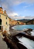 Camogli village at sunset Royalty Free Stock Images