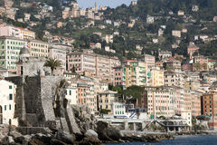 Camogli waterfront, tall pastel-colored houses Stock Photo