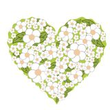 Decorative hand drawn flowers and floral hearts stock illustration