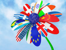 Camomile with flags. Of the states a symbol of globalization 3d Royalty Free Stock Image