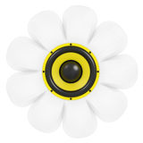 Camomile flower with audio speaker Stock Photo