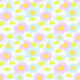 Camomile Flowers Colorful Seamless Pattern Vector Royalty Free Stock Images