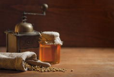 Camomile, Honey and Grinder Royalty Free Stock Images