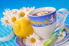 Camomile and lemon  tea for child Royalty Free Stock Photos
