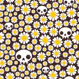 Camomile and skull seamless pattern. Stock Photo