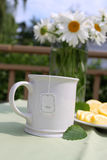 Camomile tea. A cup of tea with lemon and camomile flowers Stock Photography