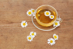 Camomile tea on wood background Royalty Free Stock Photography