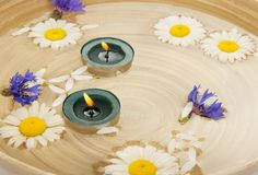 Camomiles, the cornflowers, burning candles in Royalty Free Stock Image