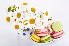 Camomiles en florero con los macarrones en el platillo Imagen de archivo libre de regalías