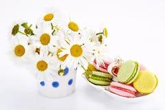 Camomiles en florero con los macarrones en el platillo Fotos de archivo libres de regalías