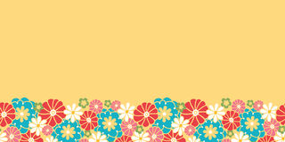 Camomiles horizontal seamless pattern background. Vector camomiles horizontal seamless pattern background ornament with hand drawn colorful flowers Stock Image