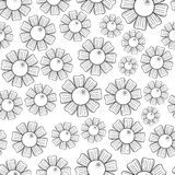 Camomiles Seamless Pattern. Seamless pattern of monochrome camomiles. Vector illustration Stock Photos