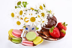 Camomiles in vase, macaroons on saucer with strawberry and choco Stock Photography