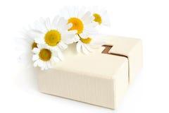 Camomiles y caja de regalo Fotos de archivo libres de regalías