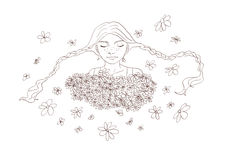 The camomiles and girl in sketch style Royalty Free Stock Photos