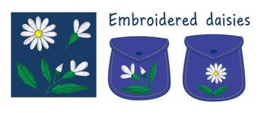 Camomilla ricamata con gli elementi separati Illustrazione di vettore royalty illustrazione gratis