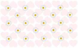 Camomille background in hearts . royalty free illustration