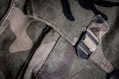 Camouflage army bag. Old camouflage army bag background royalty free stock images