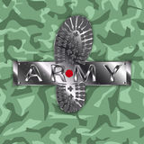 Camouflage army boot Royalty Free Stock Image
