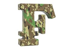 Camouflage army franc symbol, 3D rendering. Isolated on white background Royalty Free Stock Photos