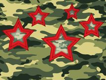 Camouflage background with five hearts. To the day of defender of Fatherland, on February 23 Vector Illustration