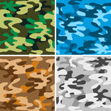 Camouflage backgrounds. Set of four seamless camouflage backgrounds Stock Photography