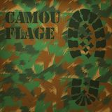 Camouflage Boot print. Trace green brown texture background royalty free illustration