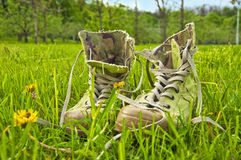 Camouflage boots Royalty Free Stock Photos