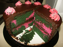 Camouflage Cake. Pink, Brown and Green Camouflage Cake Stock Images