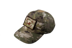 Camouflage cap. Multicam pattern camouflage cap with Korean flag Stock Photos