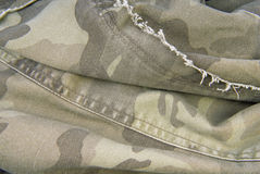 Camouflage cloth texture crumpled Royalty Free Stock Photos